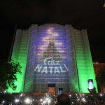 Santuário Nacional deu início às projeções Natalinas em sua fachada